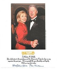 Bill Clinton and Hillary Clinton Autographed 1999 Democratic Party 9x8 with COA