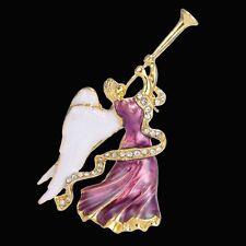 Christmas Xmas Angel Wring Crystal Rhinestone Brooch Pin Bouquet Golden Jewelry