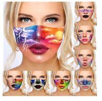 Damen 3D Baumwolle Gesichtsmaske Abdeckung Waschbare Schutzhülle Maske
