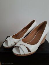Nine West - White Moc Croc Peep Toe Wedge Shoe - UK Size 6