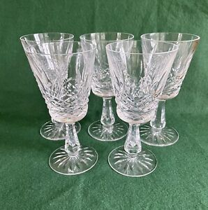 Set of 5 Lismore Waterford Crystal Wine Glasses - Signed