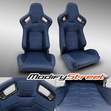 2 x BLUE PVC MAIN LEATHER LEFT/RIGHT RACING BUCKET SEATS PAIR