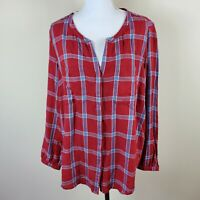 Eddie Bauer Plaid Shirt Top Blouse Button Front V Neck Women's Size XL NWT
