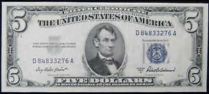 1953A $5 Silver Certificate Small Size Currency CCU Choice Crisp Uncirculated