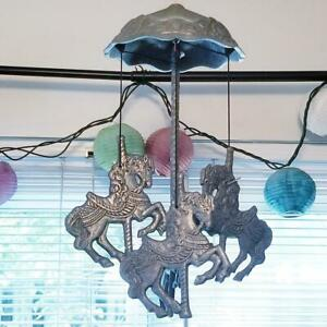 Vintage 1991 Carson Silver Tone Pewter Carousel Horses Wind Chime
