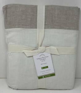 """Pottery Barn Belgian Flax Linen FULL Bedskirt Bed Skirt ~ 14"""" Drop  Natural Flax"""