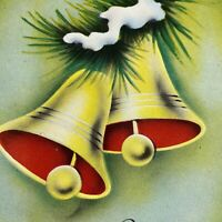 Vintage Christmas Greeting Card Snowy Jingle Bells With Evergreens