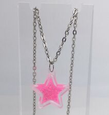 Barbie Pink Large Star Holo Glitter Pendant Necklace E151 kitsch  Silver