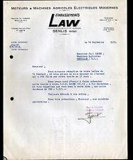 """SENLIS (60) MOTEURS & MACHINES AGRICOLES ELECTRIQUES """"LAW"""" en 1955"""
