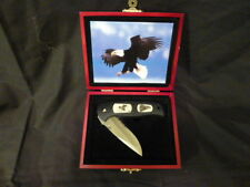 "COLLECTIBLE EAGLE ""FURY"" FOLDING KNIFE 3"" COMBO STAINLESS BLADE SHAM SAW INLAY"