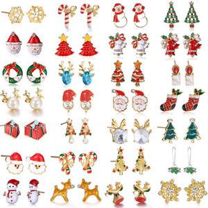 Christmas Xmas Tree Santa Claus Crystal Ear Earrings Stud Women Jewelry Gift New