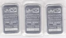 3 - 1 oz Johnson Matthey Silver Bars Sealed