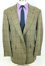42* Jos A. Bank Mens 2 Bttn Pure Wool Blazer Sport Coat Jacket Beige W/Pane Mint