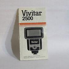 Usé Vivitar 2500 Flash Guide Manuel O40725