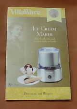 VillaWare Ice Cream Maker # 5100 Manual ~~ Directions and Recipes ~~ 15 pages