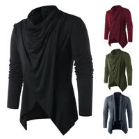 Men Shawl Collar Asymmetrical Overlap Cardigan Convertible Jumper Jacket Coat