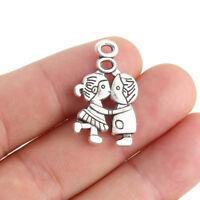 10X Vintage Silver Boy/Girl Love Charm Pendant 27*16MM DIY Necklace Bracelet