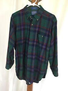 Pendleton LOBO Shirt Wool Plaid L Large Green Purple Red Black Made In USA Vtg