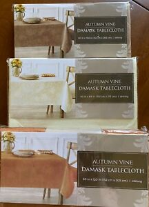 "Choice Fall Autumn Vine Damask Tablecloths Ivory 84"" Mushroom 104""  Bronze 120"""
