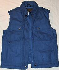 Eddie Bauer Premium Goose Down Vest with Hood Sz M Royal Blue Multi Pocketed EUC
