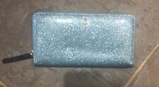 NWT Kate Spade Mavis Street Neda Light Blue Glitter Zip Wallet, Cute!