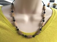 Handmade Necklace Brown Magnesite, Olive Green Freshwater Pearls and Black Glass
