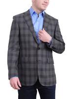 Mens Napoli Slim Fit Charcoal Gray Plaid Half Canvassed Cotton Blazer Sportcoat