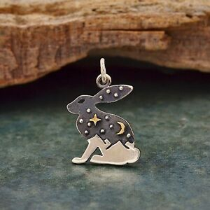 925 Sterling Silver Hare Rabbit Charm Pendant Necklace Bunny Star Moon Sky 6237