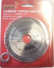 "4 1/2"" (115mm) x 40teeth Wood/Timber Cutting Saw Blade 22.2mm bore /16mm washer"