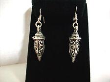 """Lanterns Scrollwork Tibetan Silver Earrings w Silver Hooks 2"""" Drop NEW"""