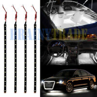 4Pcs White 1Ft/15 LED Car Motors Truck boat Flexible Strip Light Waterproof 12v