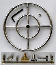 "15"" Stainless Steel Fire Pit Burner Ring Kit Natural gas Fireglass Gaslogs"