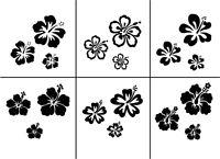 Wandaufkleber: 3x Hibiskus/Hawaii-Blumen Wohnzimmer Deko Schlafzimmer WandTattoo