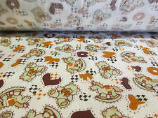 "Brown ""Rocking Horse & Teddy's"" Children's Printed 100% Cotton Fabric. 58"" Wide."