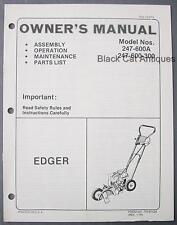 Original 1976 MTD Edger Owners Manual/Parts List Models 246-600A, 247-600-300