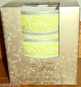 222 Fifth Pyton Lime Fine China/Porcelain Set of Four Soup Bowls ~ NIB