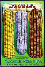 Will's Flint Corn Vintage Vegetable Seed Packet Catalogue Advertisement Poster