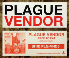 PLAGUE VENDOR Free To Eat 2014 New Stickers +FREE Punk Rock Stickers Lot