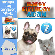 CAT and DOG - PERSONALISED Birthday Card Son Brother Nephew Grandson