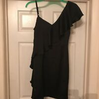 Women's Dress Miss Selfridge Black Asymmetrical Ruffle Size 10 New With Tags
