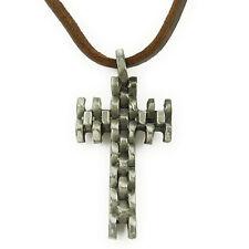 COLLIER pendentif Homme Ou Femme Mixte Cuir marron CROIX acier argenté géométrie
