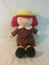 Madame Alexander Madeline doll plush, plaid dress, red hair, yellow hat, 18""