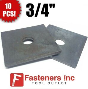 """(Qty 10) 3/4"""" x 3"""" x 1/4"""" (approximately) Square Plate Washer Plain Finish"""