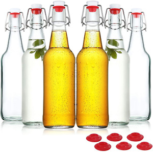 Swing Top Glass Bottles 16Oz, Flip Top Airtight Brewing Bottle(6 Pack) 16Oz