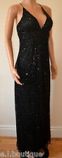 VICKY MARTIN black padded bust sequin MAXI ball cocktail wedding dress 10 BNWT