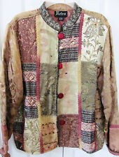 RETRO Jacket Large Vintage Tapestry Asian Themed Jacket-Lined-Long Sleeves