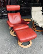 Ekornes stressless M Red Leather Recliner Chair Stool WE DELIVER UK