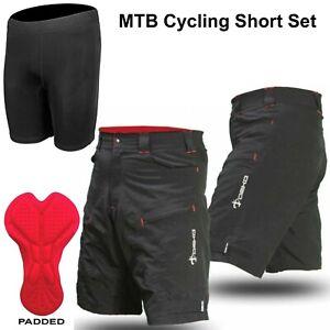 Mens MTB Phobos Mountain Bike Baggy Cycling Shorts with Undershorts