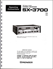 Pioneer SX-3700 Stereo Receiver Owners Manual
