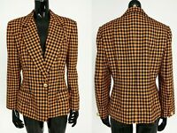 Vintage Les Copains Damen Blazer Gr. 38 IT 42 Wolle Kariert Orange Jacke Sakko